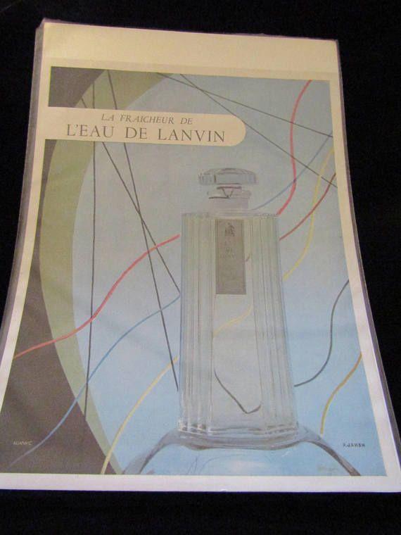 Lanvin Perfume vintage advertisement. Beautiful Mid Century
