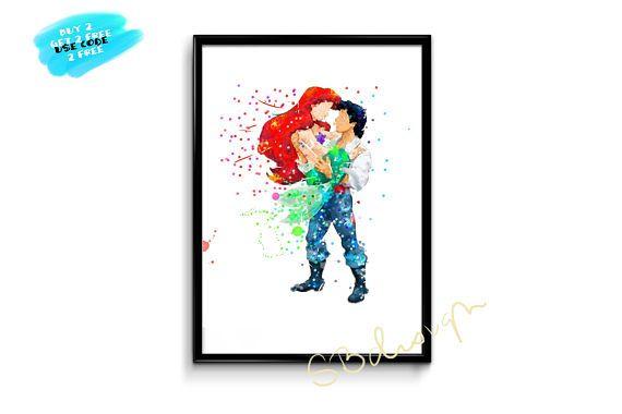 Little Mermaid Poster Watercolor Disney Print Watercolor