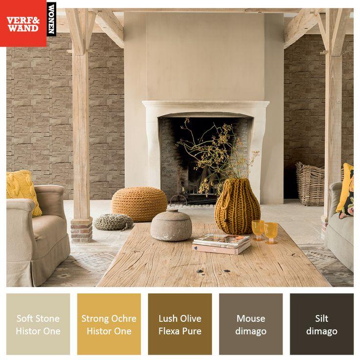 Kleurinspiratie #okergeel, natuurtinten in combinatie met het mooie behang van…