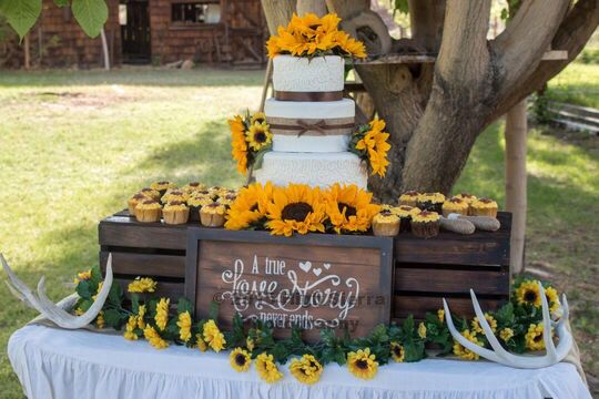 Sunflower, burlap, antler country wedding cake