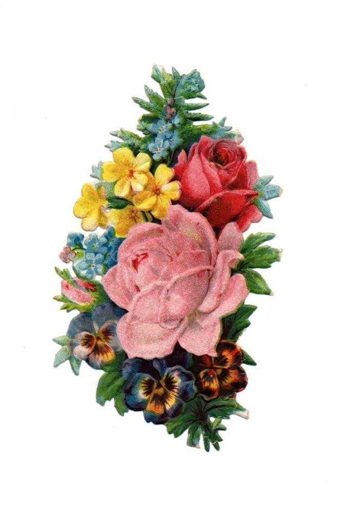 schöne alte Oblate  scrap die cut chromo -  wunderschöner  Blumenstrauß  (104)