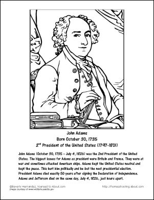 John Adams Worksheets and Coloring Pages: John Adams Coloring Page