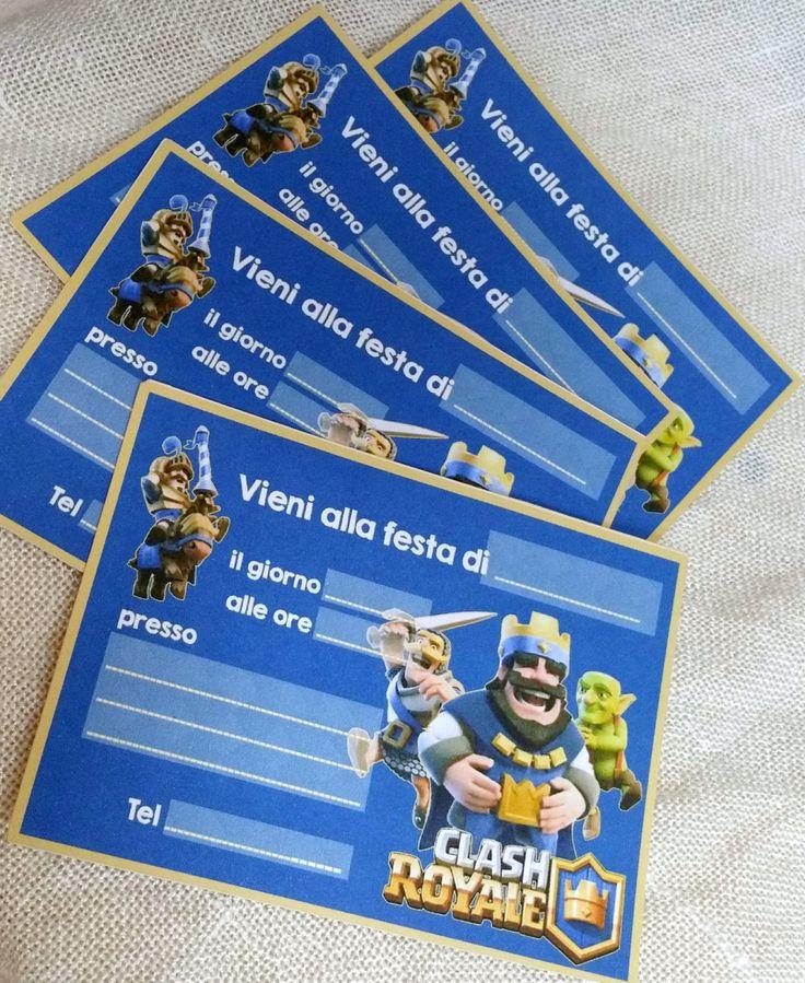 Biglietti di invito per la festa a tema clash royale stampati su cartoncino 210 gr da riempire con i dati della tua festa di Festalandia su Etsy