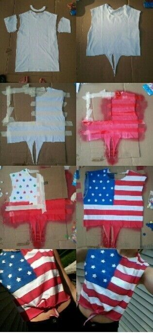 Use masking tape to create a super cute tie tank top. | 31 Last-Minute 4th Of July Decorating Tricks