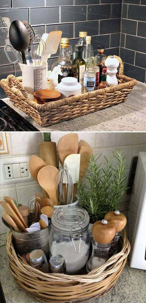 The wide, shallow basket is a great way to keep things together. You can clear countertop clutter by putting it in a pretty basket tray. #HandmadeHomeDécor