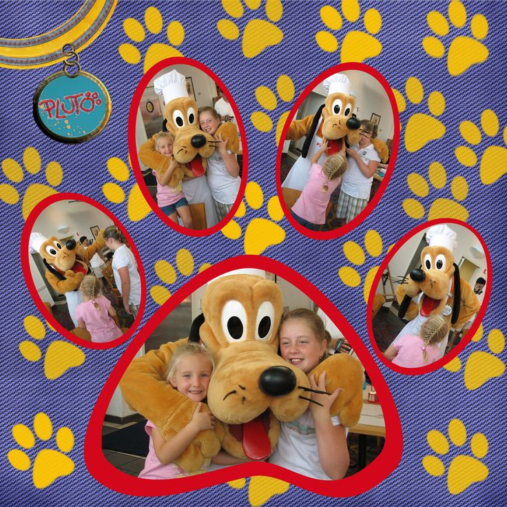 Disney Scrapbook Pages--would be great l.o. for any pet with paws :)