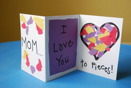 1. Love You to Pieces – Create a card that is adorable and super simple. This easy craft can be created by preschoolers with help up to second graders independently. It sends a clear an colorful message using construction paper and a bi-fold card. Everyone has these materials on hand so this is a free activity.