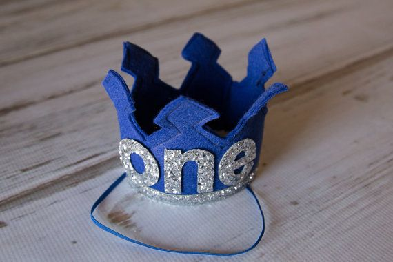 Blue First Birthday Felt Crown Felt Crown by Kutiebowtuties