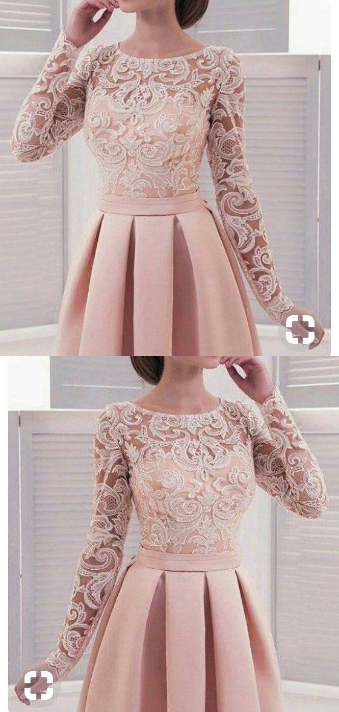 Long sleeve homecoming dresses lace a line simple short prom dress