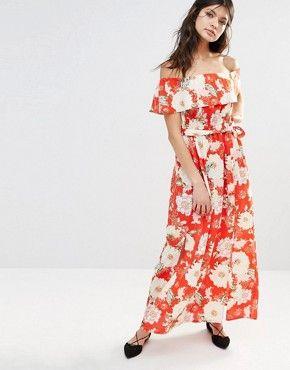 River Island Bardot Floral Maxi Dress