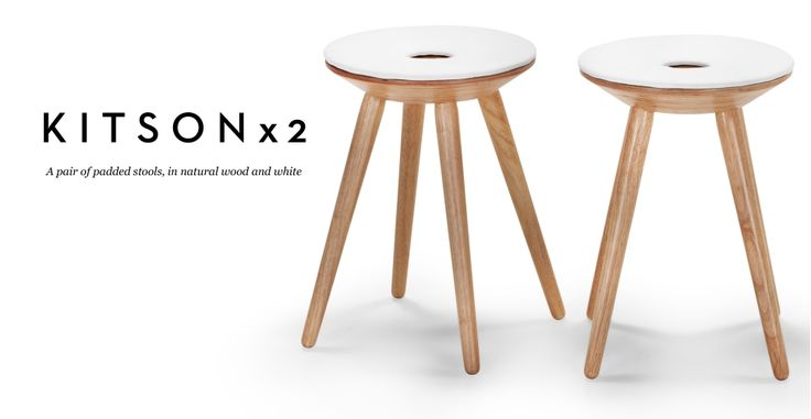 Pair of Kitson Stools in natural wood and white | made.com
