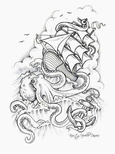 Cracken attacks ship anchor tattoo
