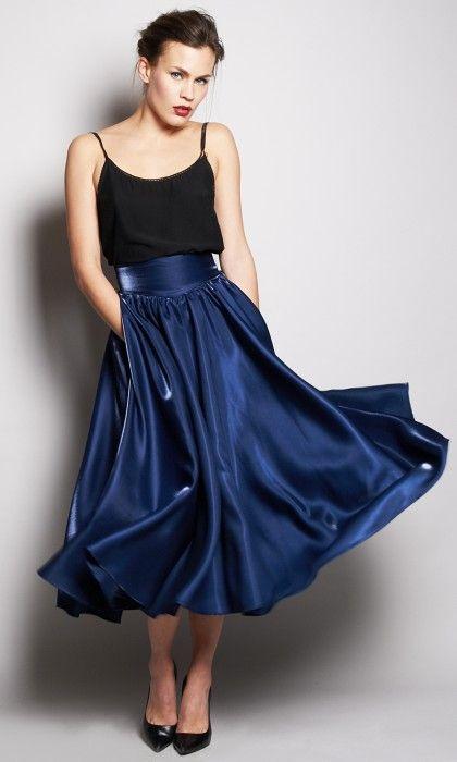 jupe longue volantée satinée par Milkaya Laijah