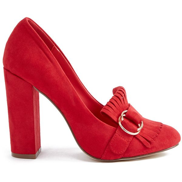 ShoeDazzle Pumps Tovah Pump Womens Red ❤ liked on Polyvore featuring shoes, pumps, red shoes, metallic loafers, red loafers, red pumps and block heel court shoes