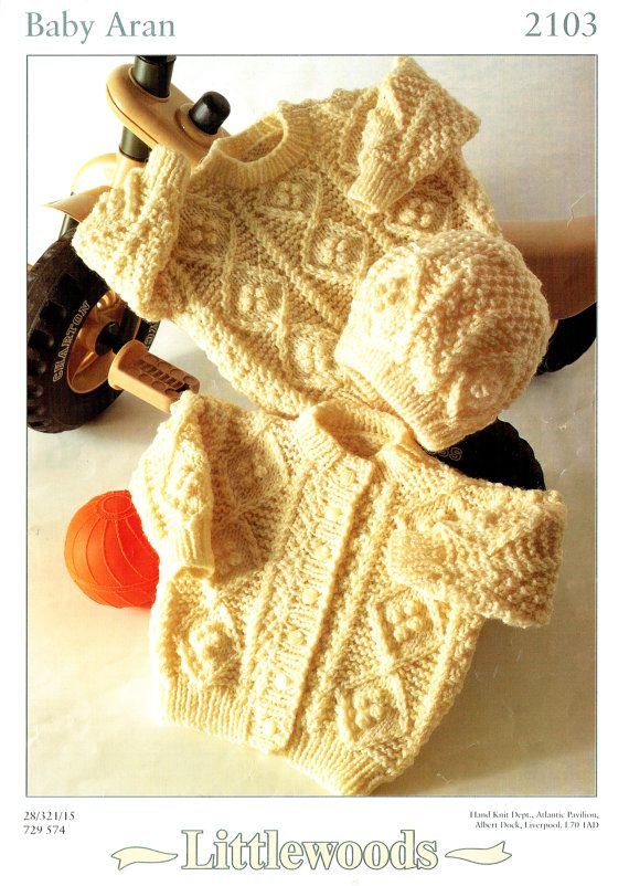 Vintage Rustic Baby 'ARAN' Knitting Pattern, Toddler, Diamond & Bobbles, Texture, Jumper, Cardigan, Hat, Traditional, Classic, Timeless