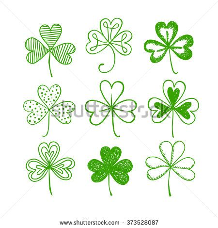 St. Patrick's day doodle shamrocks set. Hand drawn three leaf clover on white background for your design. - stock vector