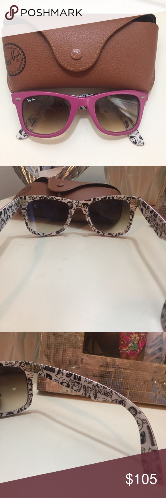 RAY-BAN Pink Wayfarer Sunglasses Rare, pink wayfarer Ray Bans with the comic inside detail. In perfect condition and comes with the Ray Ban Sunglasses Case! Ray-Ban Accessories Sunglasses