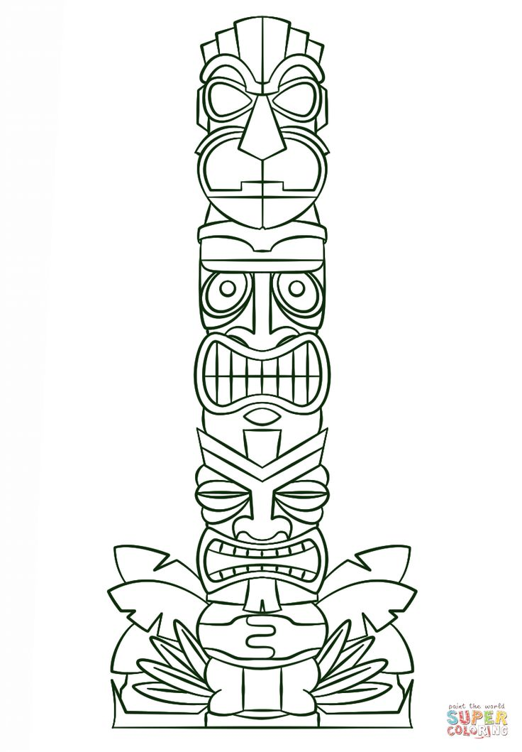 tiki tribal pole coloring page  free printable coloring