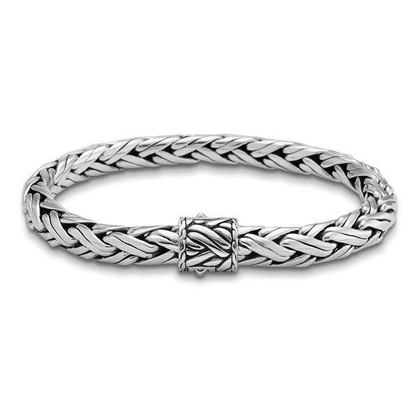 John Hardy Classic Chain 8mm Silver Woven Chain Bracelet ($795) ❤ liked on Polyvore featuring men's fashion, men's jewelry, men's bracelets, mens silver bracelets, john hardy mens bracelets, mens leather braided bracelets, mens chain link bracelets and mens woven bracelets