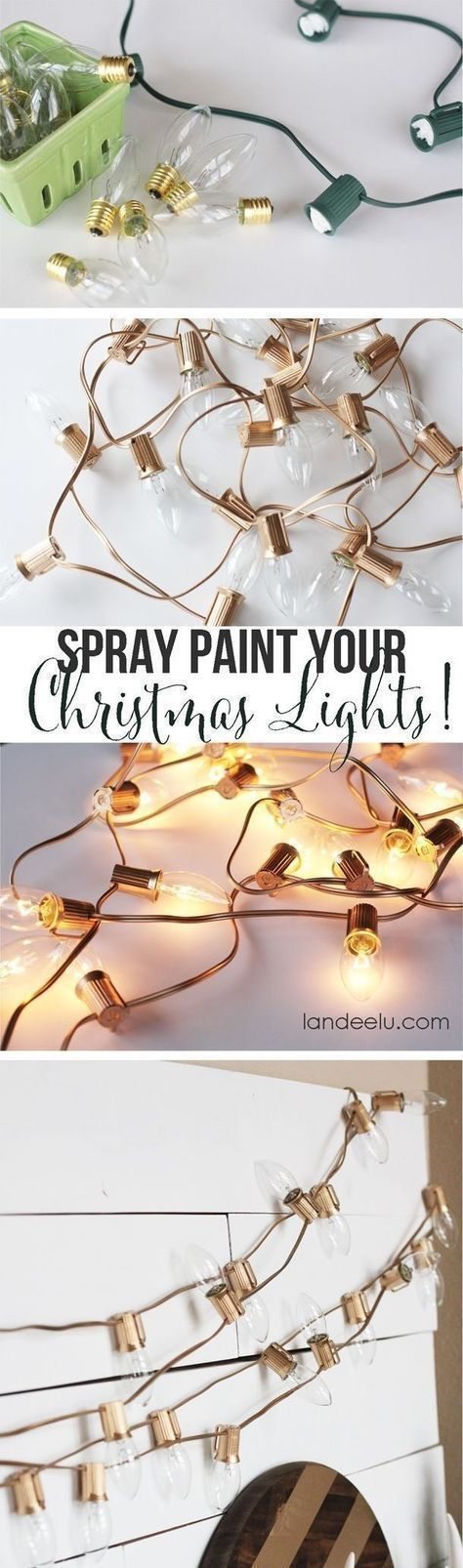 String Light DIY ideas for Cool Home Decor - Spray Painted Christmas Lights are Fun for Teens Room, Dorm, Apartment or Home #christmaslightdecorations