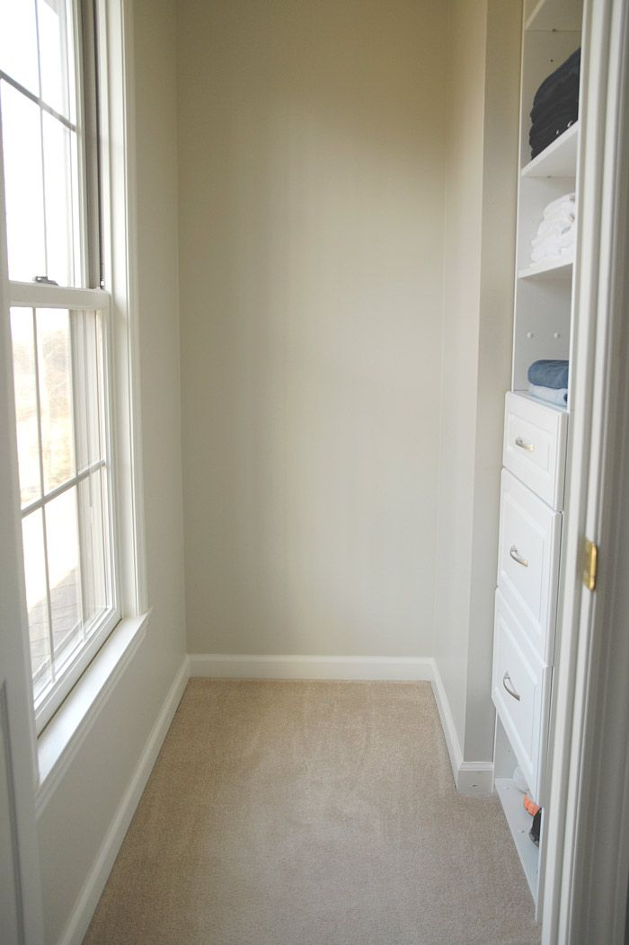 Valspar's Oatlands Subtle Taupe (eggshell finish) from Lowes. I think it looks perfect in a closet