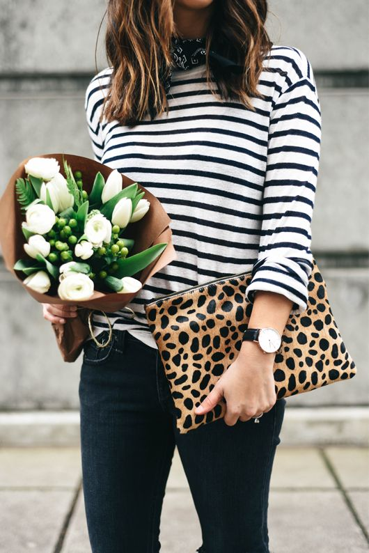 Love this stripe and leopard combo for spring. The perfect way to mix your prints!