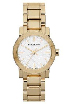 Relógio Burberry Watch, Women's Swiss Gold Ion Plated Stainless Steel Bracelet 26mm BU9203 #Relogios #Burberry