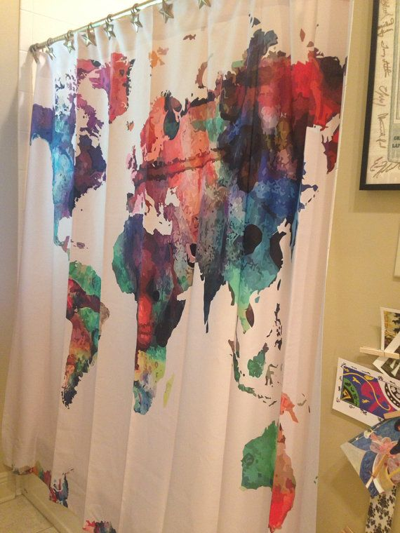 SALE Custom Shower Curtains Watercolor World Map by redbeauty