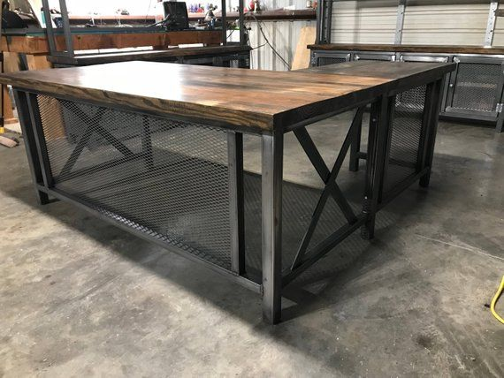 Industrial Rustic L Desk And Return Free Shipping In Continental