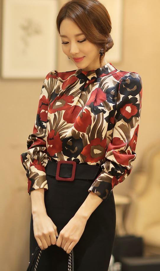Styleonme Scarlet Printed Blouse Blouse Floral Elegant