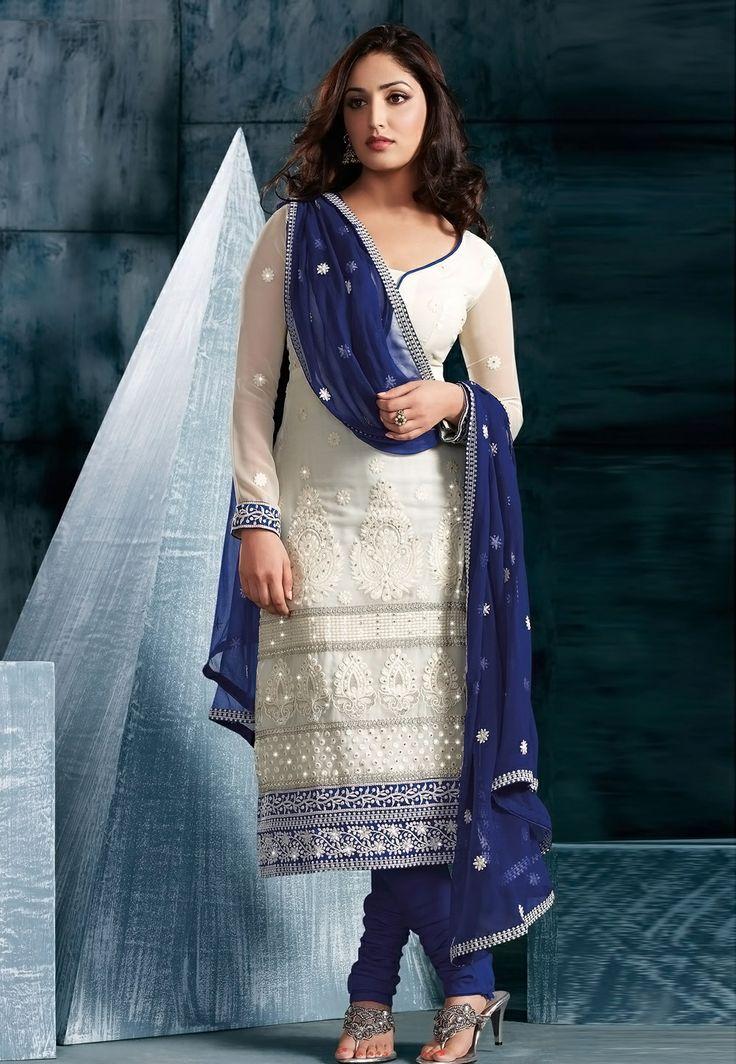 White and Blue Salwar Kameez  |  मिशेल