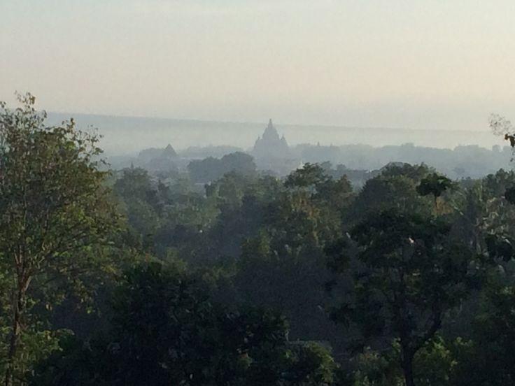 Candi Prambanan view from Kraton Ratu Boko - Prambanan, Sleman, Yogyakarta.