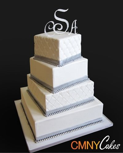 Silver beads Square Wedding Cake