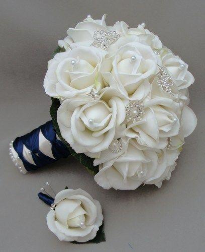 Silk Flower Bridal Bouquet Real Touch Roses Rhinestone White Navy Blue   SongsFromTheGarden - Wedding on ArtFire