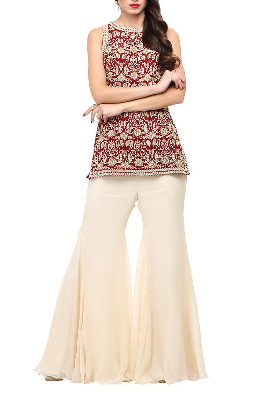 MALASA Maroon embroidered short kurta with cream palazzos