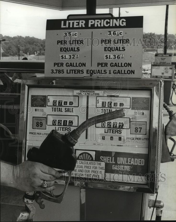 1981 Press Photo Shell Gas Station Prices in Gallon and Liter with Metric System | eBay