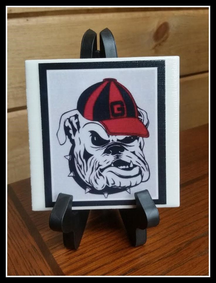 Georgia Bulldogs Football Decorative image Tile,Picture Tile Ceramic Georgia Bulldog 1 - 4x4 with stand,Georgia Football Fans Gift Decor USA by TSHeartsDesire374 on Etsy