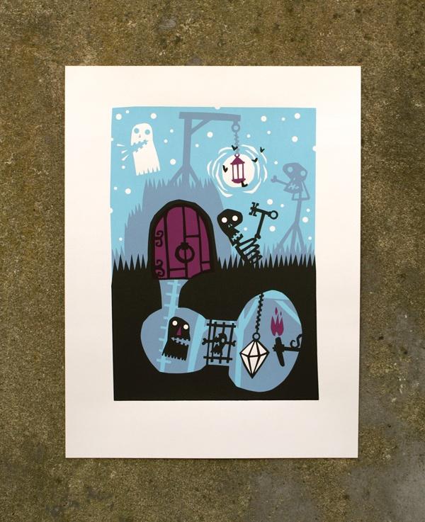Silkcreen prints: Monsters and ghosts by Aleks Deurloo