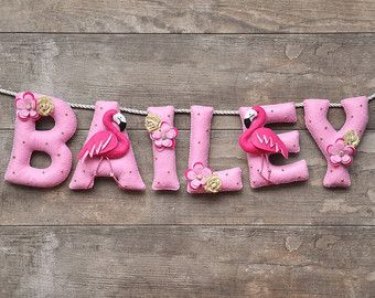 Felt name banner, Pink flamingo, nursery decor, personalized letters, baby name banner, baby name garland, custom felt name, name bunting