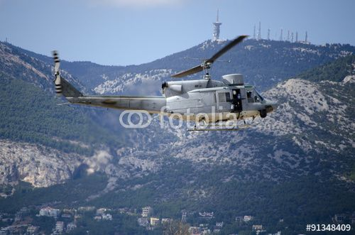 Agusta helicopter radar antenna  base background  mountain