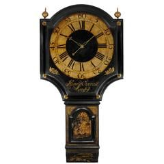 George III Black Lacquer Tavern Clock by Henry Overall of Ramsey