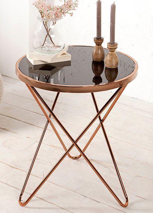 Beistelltisch Couchtisch PARIS 55cm Art Deco Design Glas schwarz / kupfer Retro in Möbel & Wohnen, Möbel, Tische | eBay