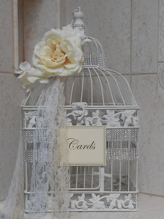 Birdcage Wedding Card Holder / Gold Birdcage by YesMoreFunk