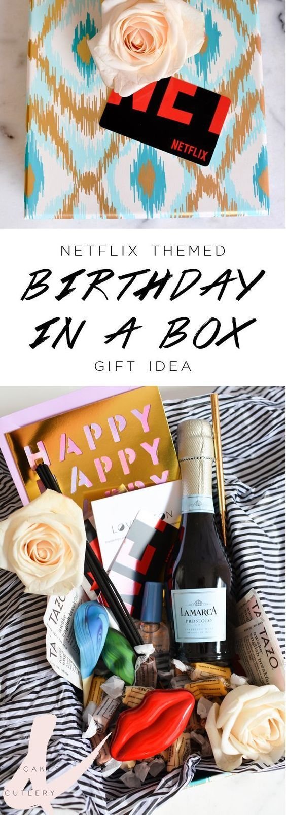 Are you looking for unique birthday gift ideas? You have to check out this DIY gift box! This cute present idea is perfect for your best friend or other women in your life! #gifts #giftsforher #cupcakesandcutlery #giftbasketideas