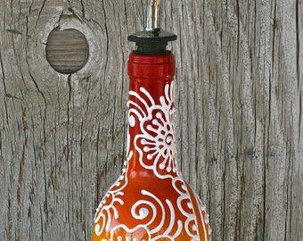 Pintado a mano de diseño minimalista de botella de vino