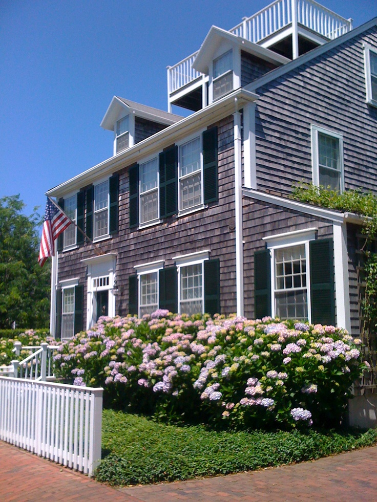 Nantucket style home...gray shingles, white trim, yard full of colorful hydrangeas.