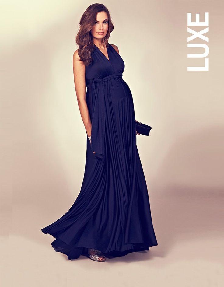 Robe longue de grossesse multi-look – bleu marine   Seraphine