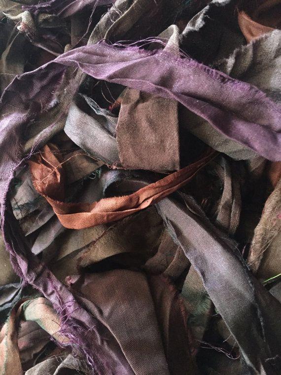 Púrpura oscuro granate y marrón reciclado Sari de por Varietyislife
