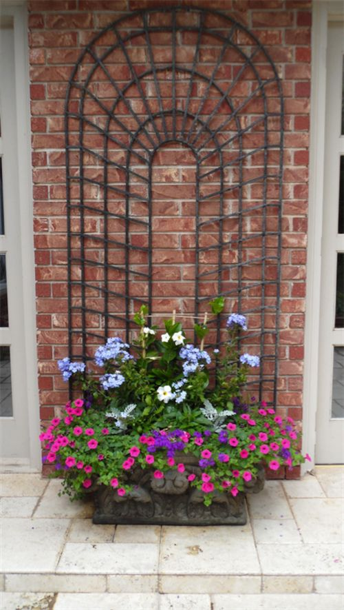 Container Gardening-Love the trellis.  I can see a colorful vine growing here.