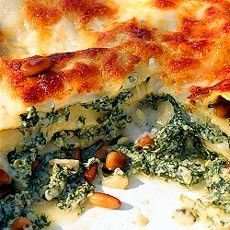 Spinach and Ricotta Lasagne with Pine Nuts